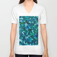 camouflage V-neck T-shirts featuring 'Camouflage' by Mina & Jon