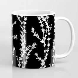 Vines (white on black, large pattern) Coffee Mug