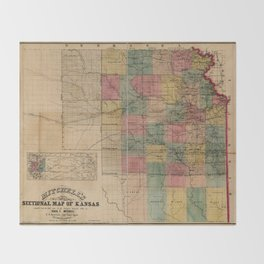 Mitchell's Sectional Map of Kansas (1859) Throw Blanket