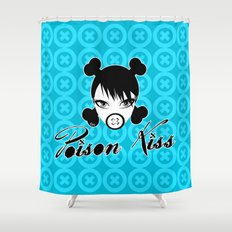 POISON KISS CYAN Shower Curtain