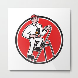 House Painter Paintbrush on Ladder Cartoon Metal Print