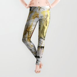 Armor [9]:a bright, interesting abstract piece in gold, pink, black and white Leggings