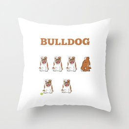 Stubborn Bulldog Tricks Funny Dog Pet Lover Throw Pillow