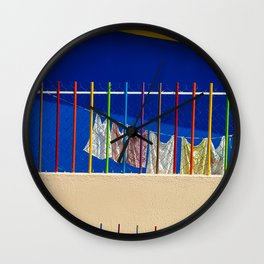 Colorful Clothesline Wall Clock