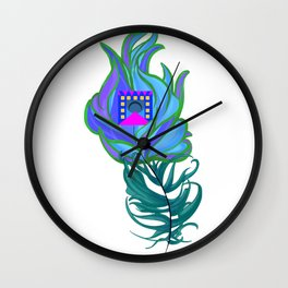 21st Century Peacock Feather Wall Clock