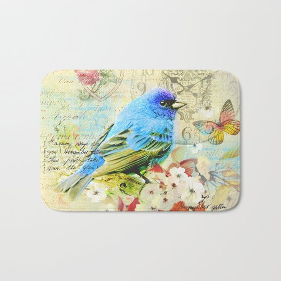 Vintage illustration with bird and butterfly Bath Mat