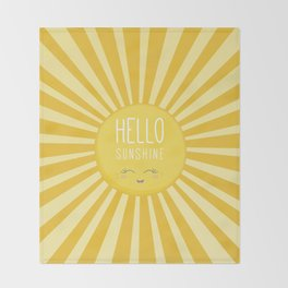 KAWAII SKY - happy smiling sun - hello sunshine quote Throw Blanket