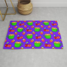 Cute happy playful funny Kawaii baby kittens sitting in little green espresso coffee cups, ripe yummy red summer cherries and strawberries fruity pretty blue design. Rug