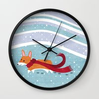 corgi Wall Clocks featuring Winter Corgi by Jackie Sullivan