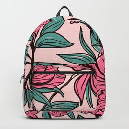 Floral Obsession (pink peonies vintage flowers pattern) Backpack