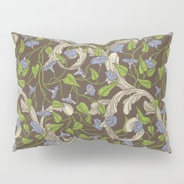 Blue morning glory with ornaments on brown background Pillow Sham