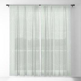 Gisela Geometric Line Pattern - Sage Sheer Curtain