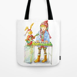 Indie Pop Girl at Christmas Time Tote Bag