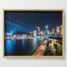 Sydney Skyline dressed in deep blue tones Serving Tray