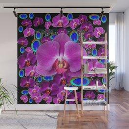 Black-Blue-Pink Orchids Blue Peacock Eyes Art Wall Mural