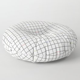 Minimalist Black and Off-White Grid with Color Accents Floor Pillow