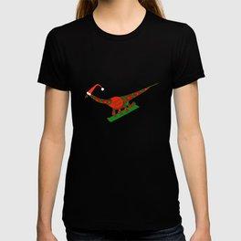 Christmas Dinosaur Snowboarding in a Santa Hat T-shirt