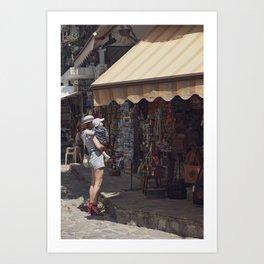 European vintage woman and summer - Street Photography Art Print