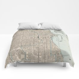 Vintage Map of Chicago (1893) Comforters