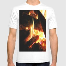 Why Should The Fire Die? White Mens Fitted Tee MEDIUM