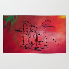 Music, Drummer, Drums, Orignal Artwork By Jodi Tomer. Rock and Roll Drums Rug