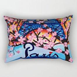 Paris Cherry Blossoms Rectangular Pillow