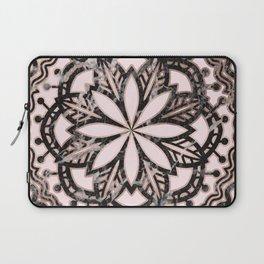 Marble mandala - striking black and rose gold Laptop Sleeve