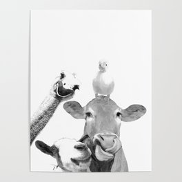 Black and White Farm Animal Friends Poster