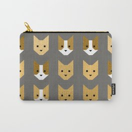 Geometric Cat Quilt // Mustard Carry-All Pouch