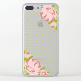 Peonies & Polka Dots Clear iPhone Case