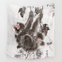 Monkey Hanging from Grapevines Wall Tapestry