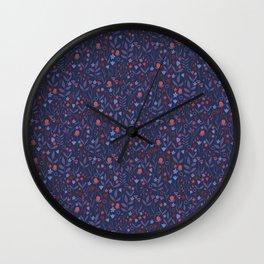 Intricate Dark Moody Floral Pattern Wall Clock