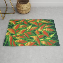 Lobster Claw / Heliconia Rostrata, tropic flowers, green, yellow & orange Rug