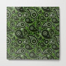 Leaf Green Paisley Pattern Metal Print