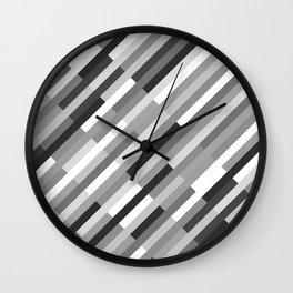Bricks Rotate 45 Black and White Wall Clock