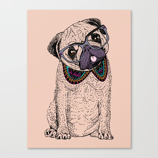 Hipster Pug Canvas Print