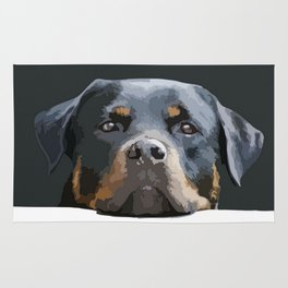 Rottweiler Portrait Vector Rug