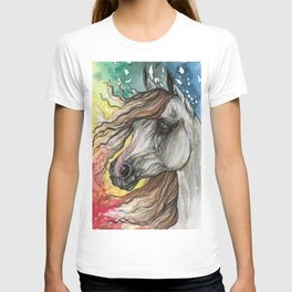 Horse with rainbow background T-shirt