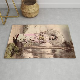 Japanese girl with parasol Rug
