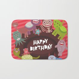 Happy birthday Funny monsters card Bath Mat