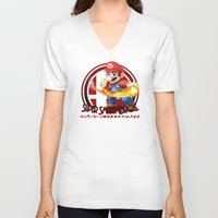 super smash bros V-neck T-shirts featuring Mario - Super Smash Bros. by Donkey Inferno