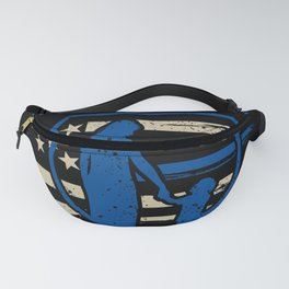 Proud Police Mom Blue Thin Line American Flag Support Son Fanny Pack