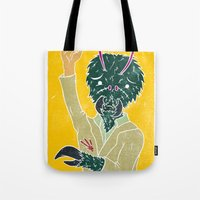 mcfly Tote Bags featuring Tim McFly by Fhil Navarro