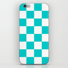 Large Checkered - White and Cyan iPhone Skin