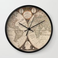 map of the world Wall Clocks featuring World Map by Le petit Archiviste