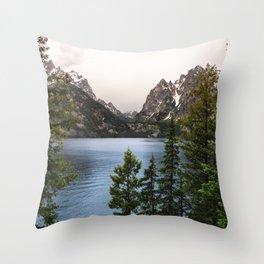 Grand Teton Wanderlust Lake Adventure - Nature Photography Throw Pillow