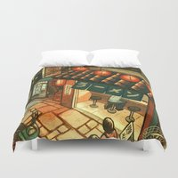 ramen Duvet Covers featuring Ramen in the Alley by Kerri Aitken