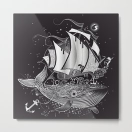 Great white whale and a sailing ship Metal Print