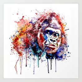 Gorilla Watercolor portrait Art Print