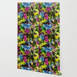 Lavender, Yellow & Blue Floral Wallpaper
